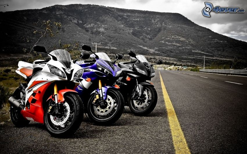 Yamaha R6, motorky, cesta, kopec
