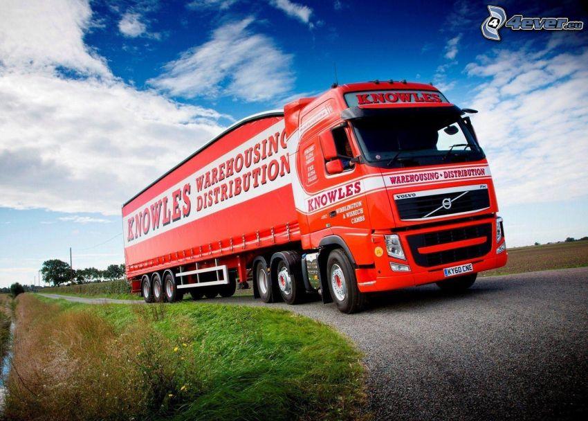 Volvo, kamión, cesta