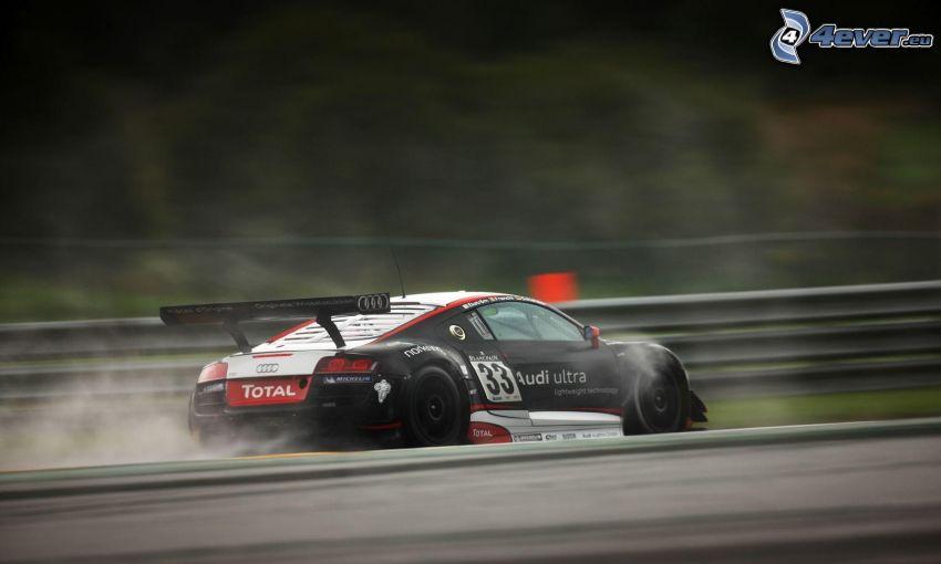 Audi, pretekárske auto, rýchlosť, dym