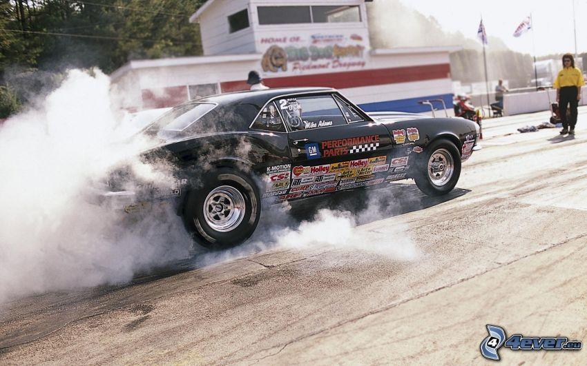 Chevrolet Camaro, pretekárske auto, burnout, veterán, dym