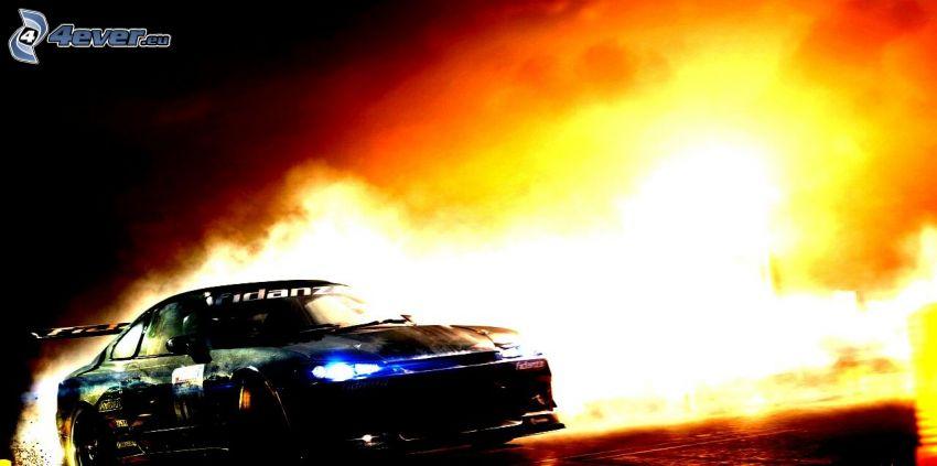drift, pretekárske auto, oheň