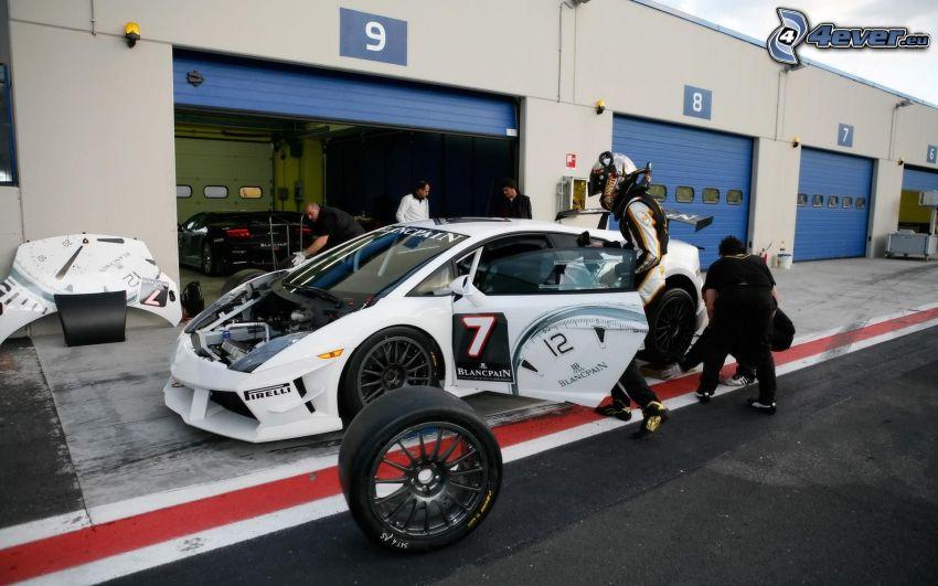 Lamborghini, pretekárske auto, koleso, garáže