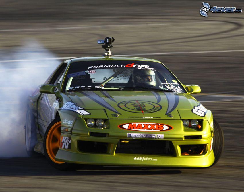 Nissan GT-R, drift, dym