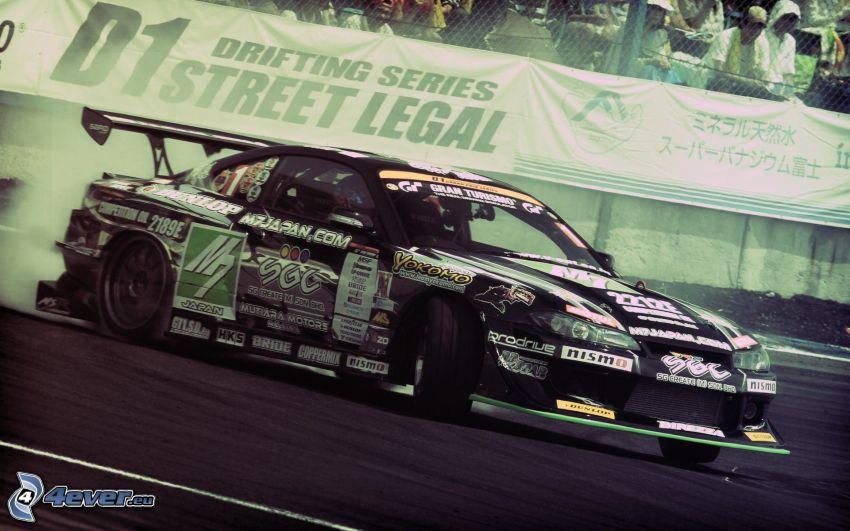 Nissan Silvia, drift, pretekárske auto, rýchlosť, dym, diváci