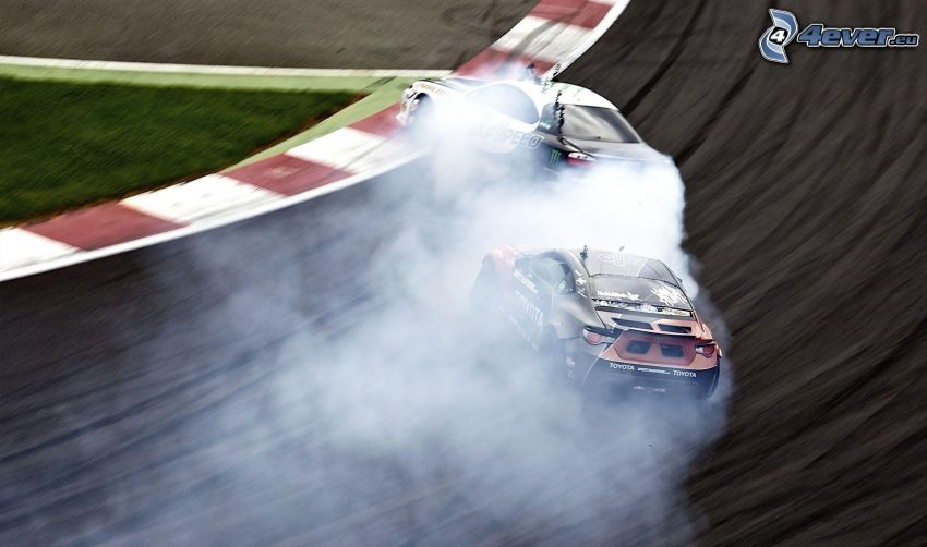 preteky, drift, dym