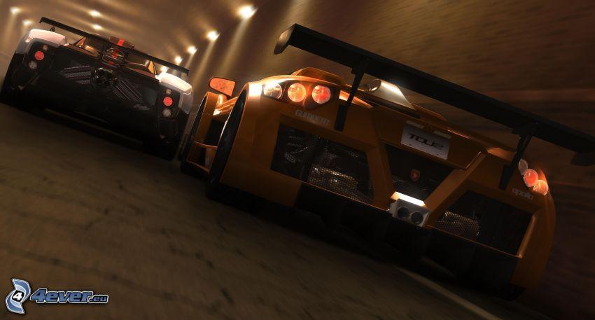preteky, Gumpert Apollo, pretekárske auto, kreslené auto, tunel