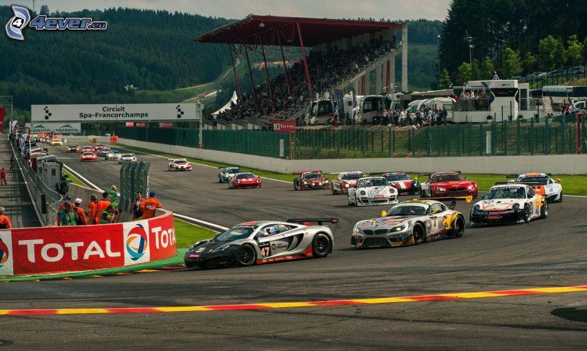 preteky, Lamborghini, BMW, Porsche, pretekárske auto, pretekársky okruh