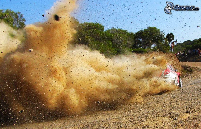 rally, prach, pretekárske auto, drift