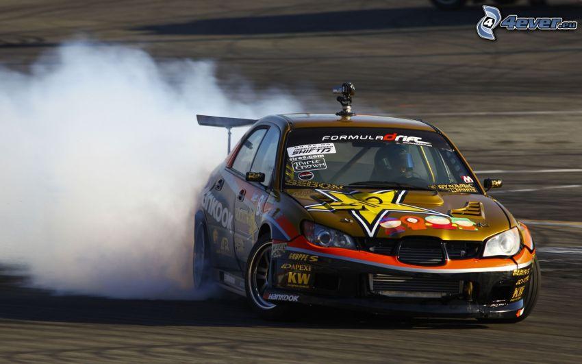 Seat, pretekárske auto, drift, dym