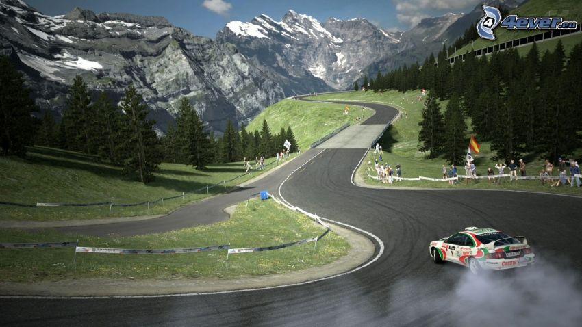 Toyota Corolla, pretekárske auto, pretekársky okruh, drift, dym
