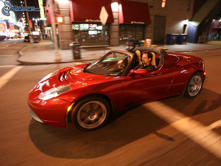 Tesla Roadster, rýchlosť, mesto, križovatka