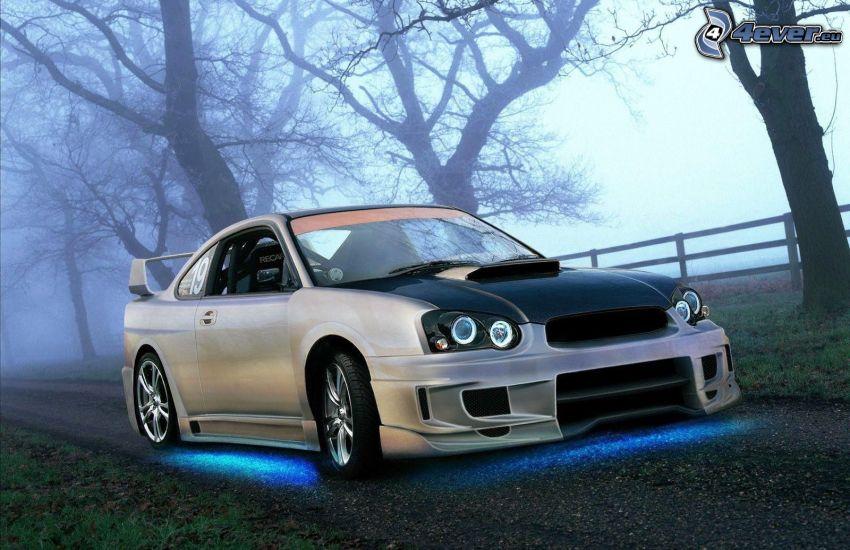 Subaru Impreza WRX, tuning, neón, podsvietenie, cesta, hmla