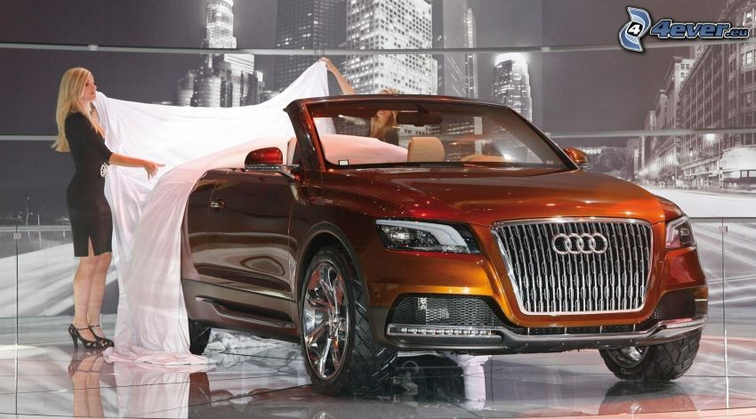 Audi Quattro, kabriolet, blondínka, plachta