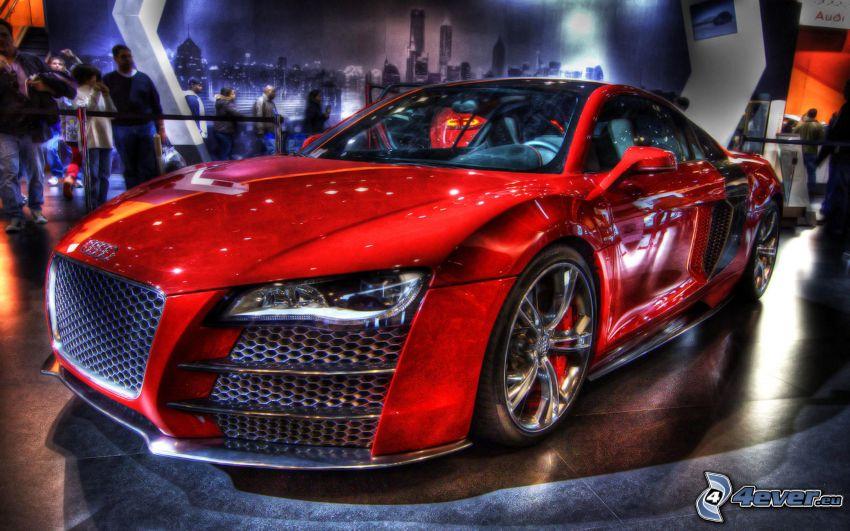 Audi R8, výstava, HDR