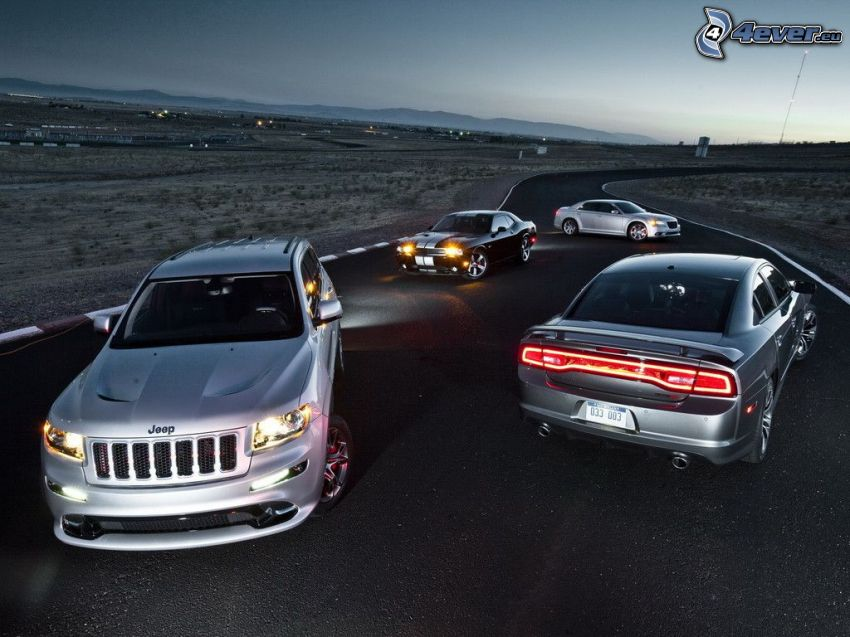 autá, Jeep, Dodge Charger, Ford Mustang, cesta