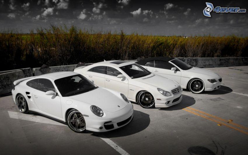 autá, Porsche 911, Mercedes, BMW, kabriolet