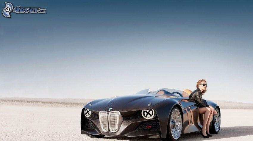BMW, kabriolet, žena
