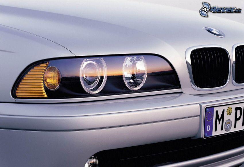 BMW, reflektor, predná maska