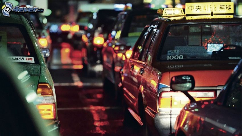 dopravná zápcha, autá, nočná cesta