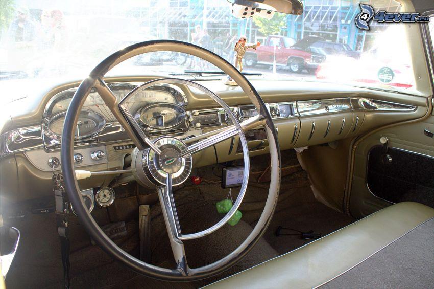 Edsel Corsair, interiér, volant, palubná doska, veterán
