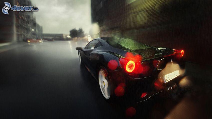 Ferrari 458 Italia, večerné mesto, rýchlosť, dážď