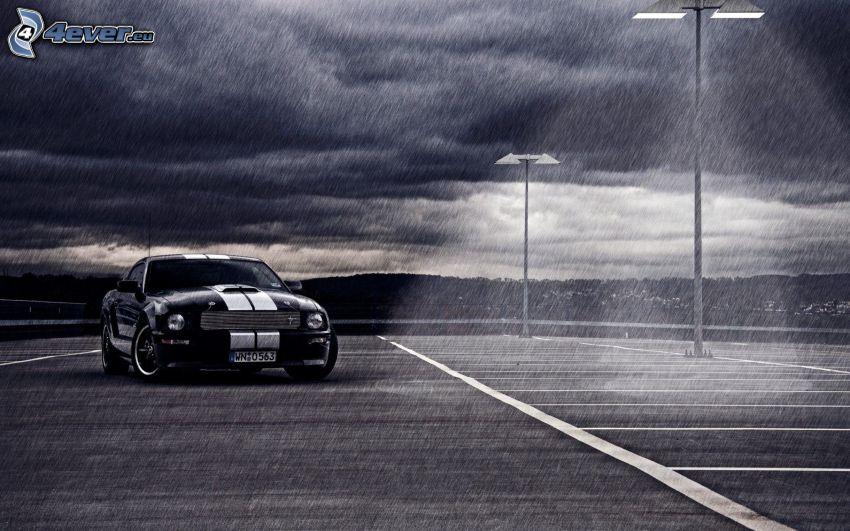 Ford Mustang, dážď, lampy, noc, čiernobiele