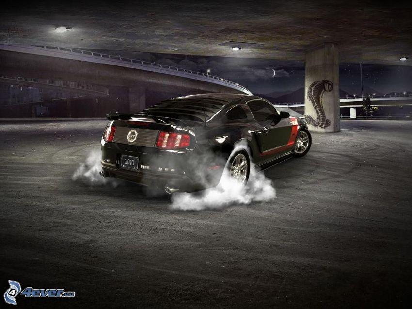 Ford Mustang Shelby, burnout, dym, kobra, noc, pod mostom