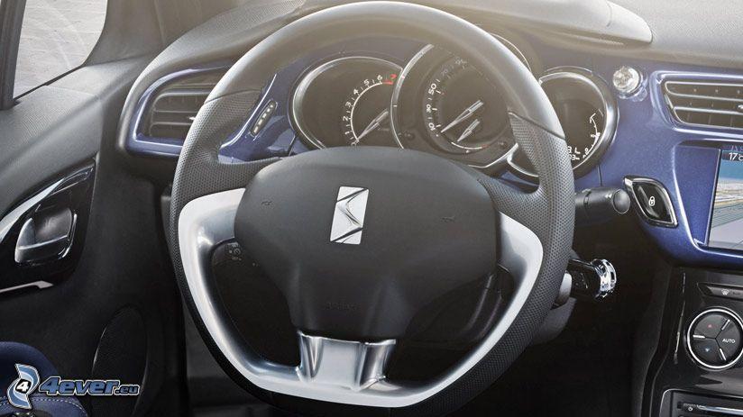 interiér Citroënu DS3 Cabrio, volant