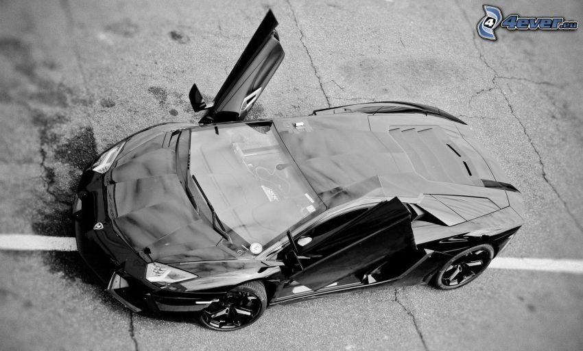 Lamborghini Aventador, dvere, čiernobiela fotka