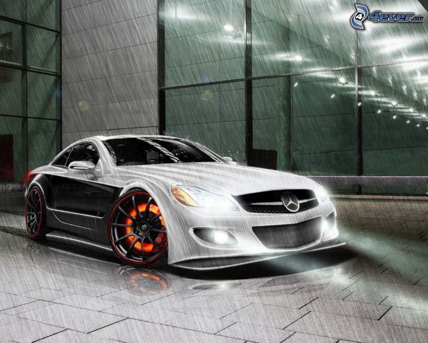 Mercedes-Benz SL63 AMG, svetlá, dážď, dlažba