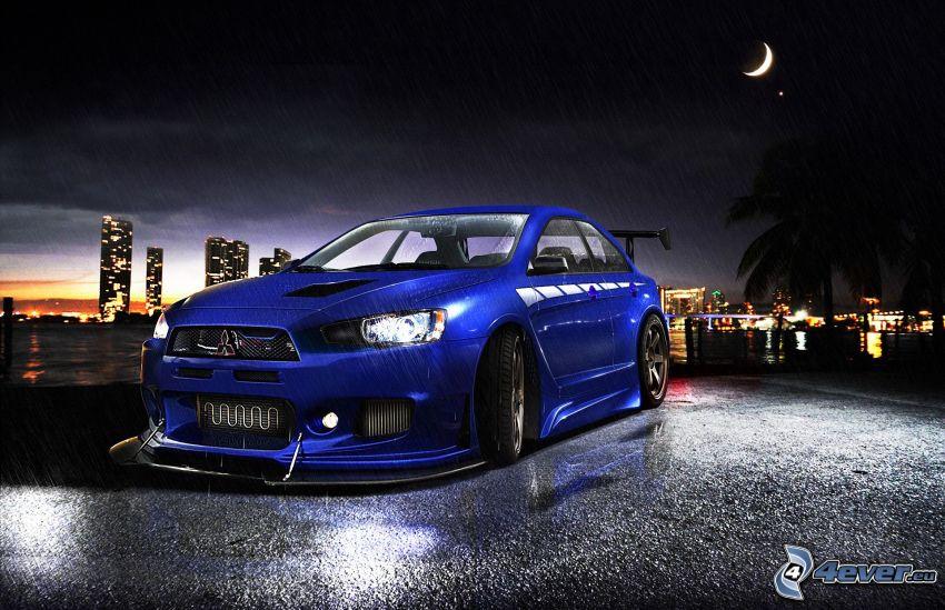 Mitsubishi Lancer Evolution X, noc, dážď