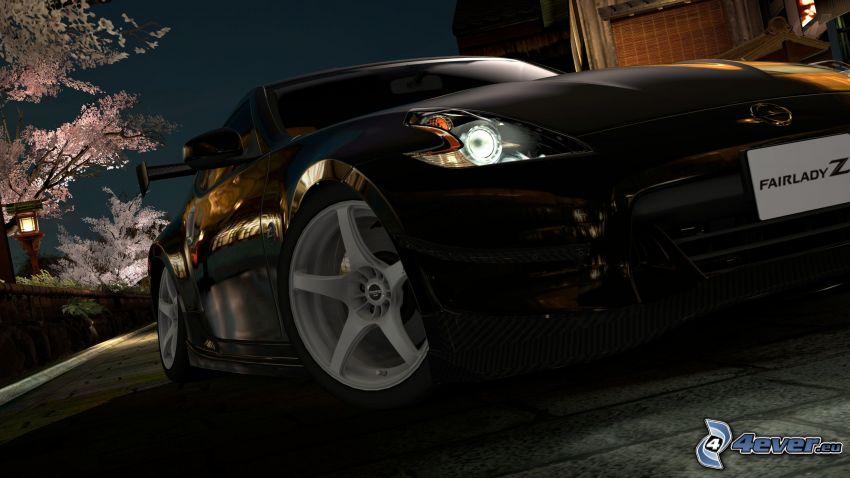 Nissan 370Z, predné svetlo, večer