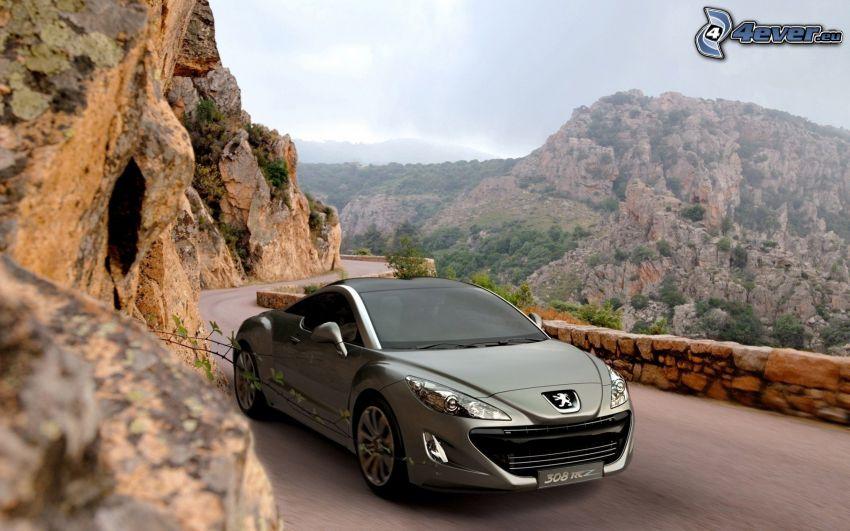 Peugeot 308RCZ, skala, skalnatý kopec