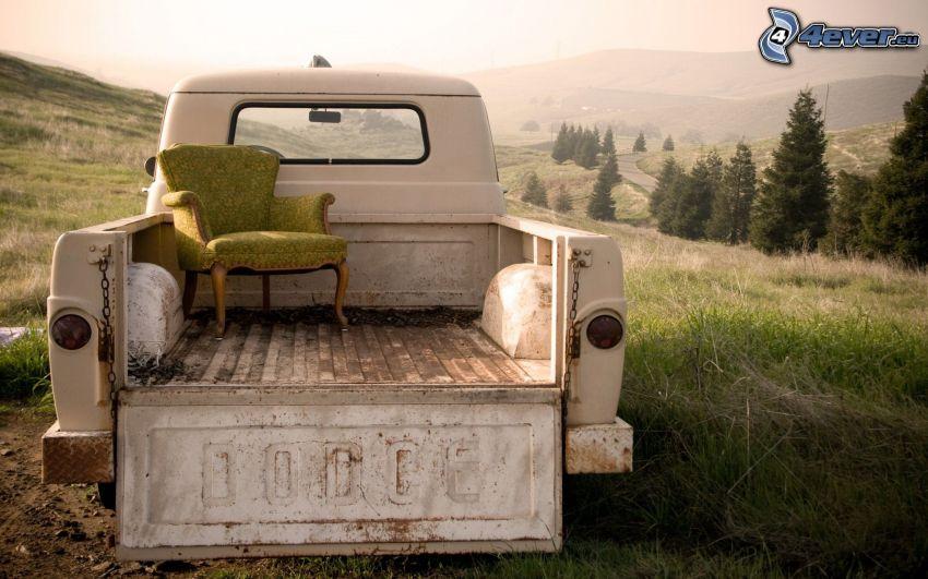 pickup truck, Dodge, kreslo