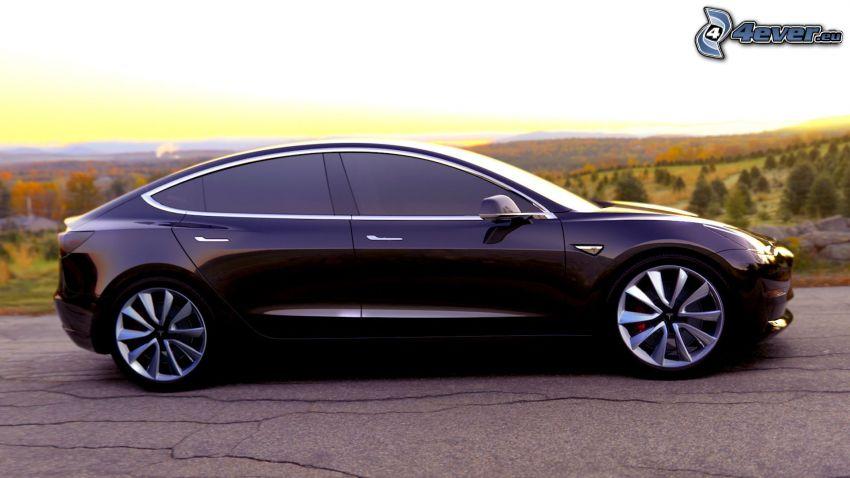 Tesla Model 3, západ slnka