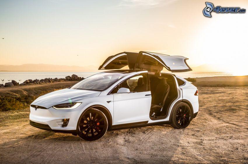 Tesla Model X, dvere, falcon doors, západ slnka
