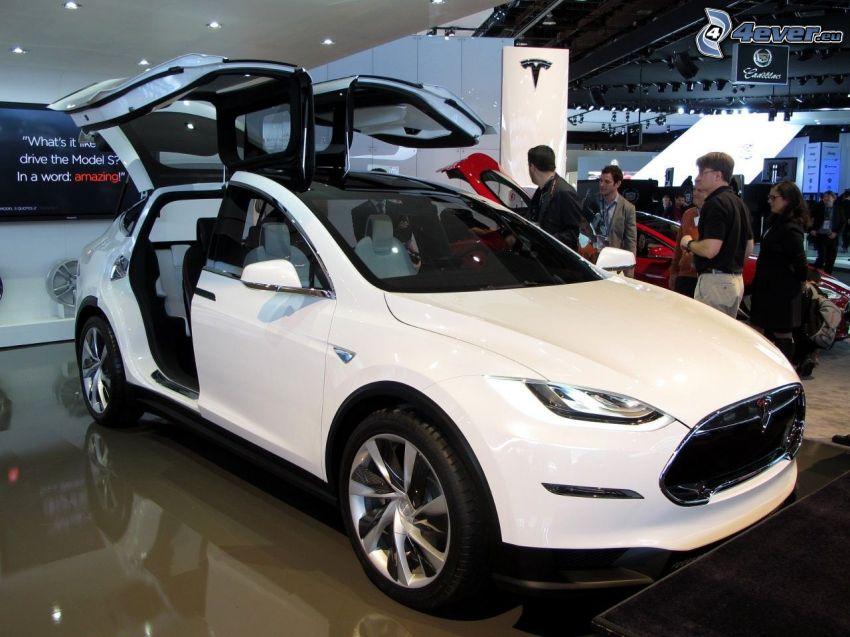 Tesla Model X, koncept, výstava, autosalón, dvere, falcon doors