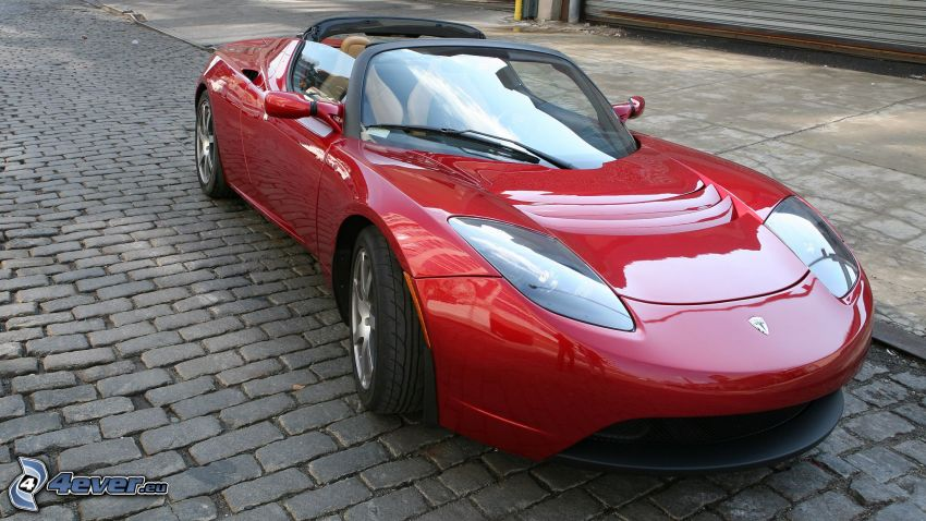Tesla Roadster, kabriolet, dlažba