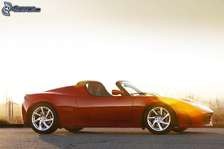 Tesla Roadster, kabriolet, elektrické auto, západ slnka