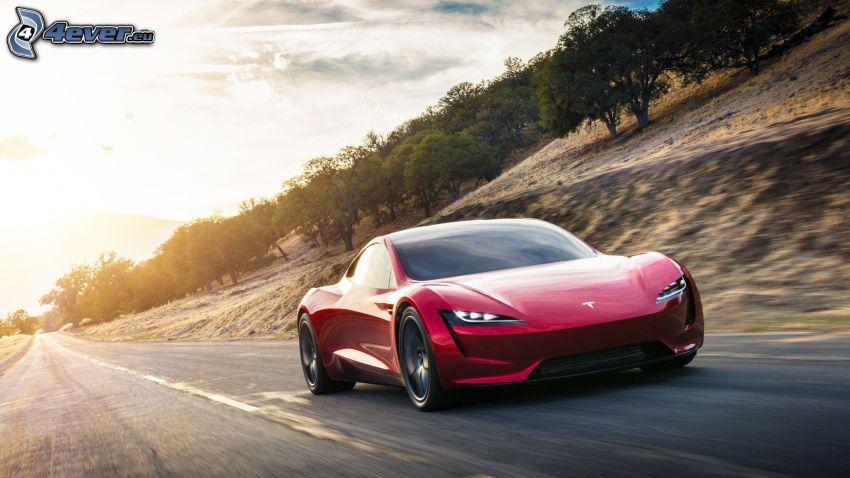 Tesla Roadster 2, cesta, západ slnka