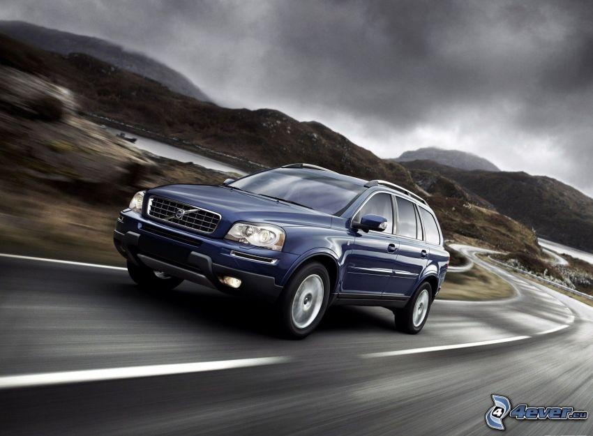 Volvo XC90, cesta, pohorie, rýchlosť