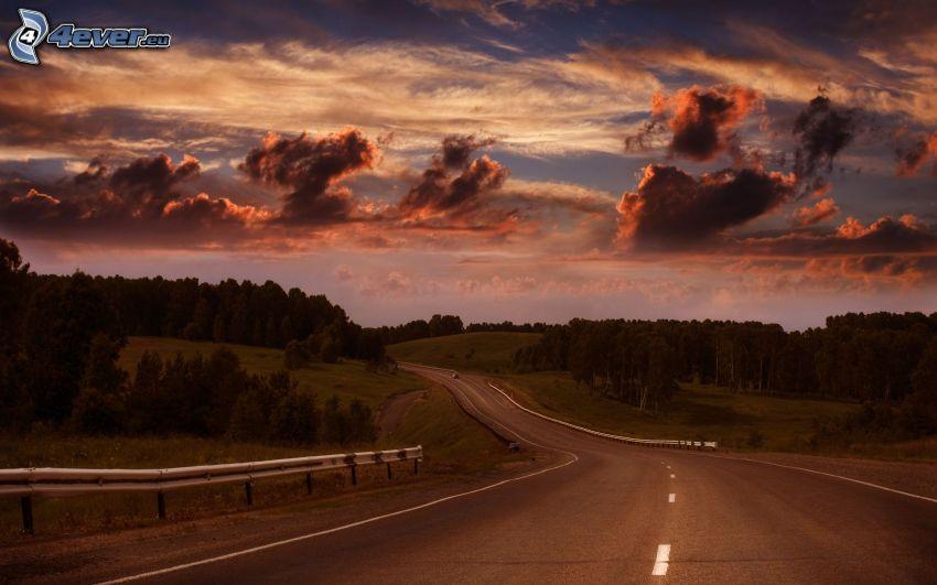 cesta, lesy a lúky, oblaky