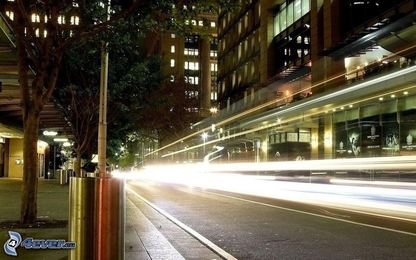 cesta, ulica, svetlá, noc, budovy