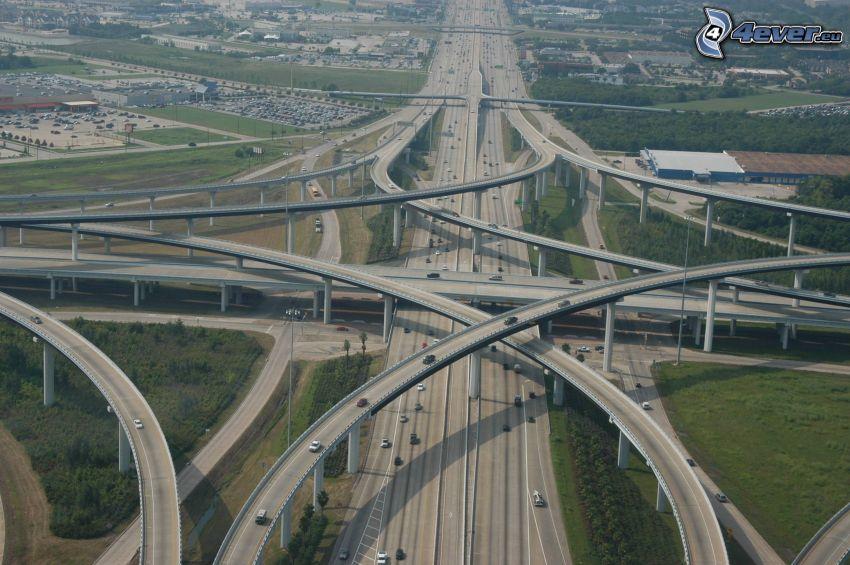 diaľničná križovatka, cesty, mosty