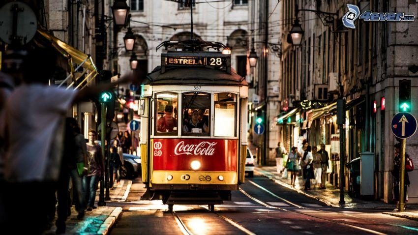 električka, večerné mesto, ulica, Coca Cola