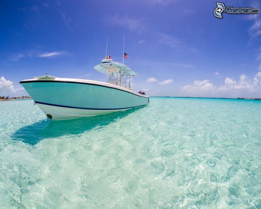 jachta, azúrové more