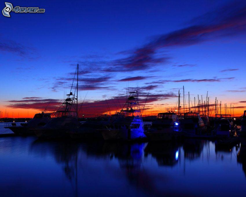 jachtový prístav, večer, obloha, Yokohama