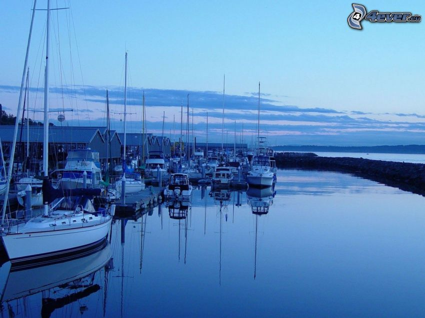 jachtový prístav, večer