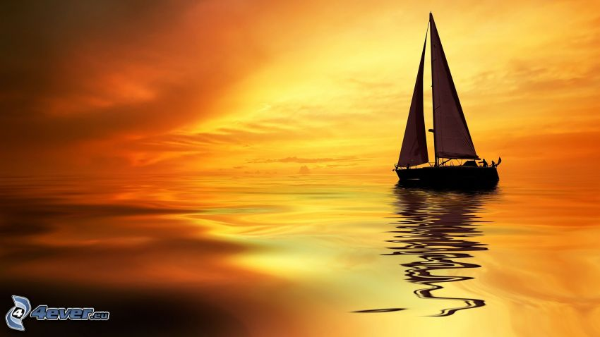 loďka na mori, oranžová obloha