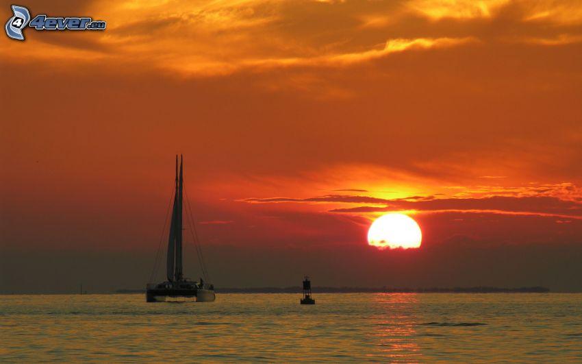 loďka na mori, západ slnka za morom